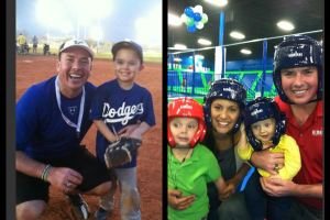 Rich and his family enjoying family time playing baseball and jumping at AirHeads!