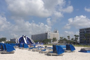 The High Tide Water Slide sits on the edge of the beach and gives an exhilarating ride!
