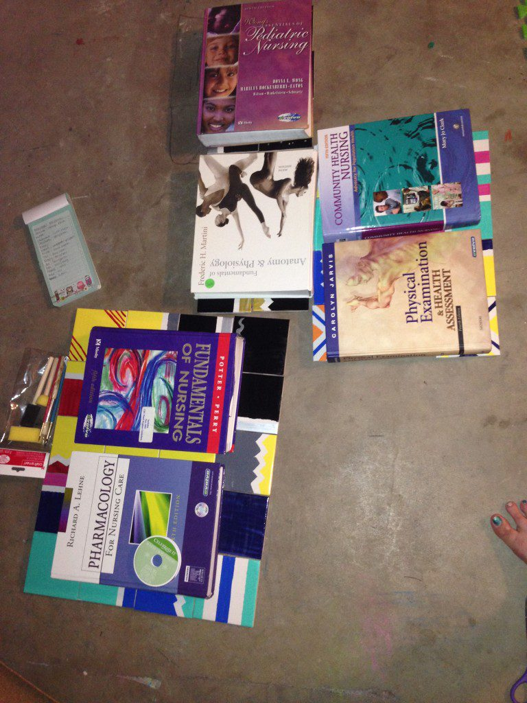 Putting my nursing textbooks to good use after 8 years of sitting on the bookshelf