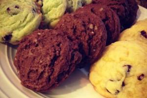 L-R: Pistachio Cranberry Chocolate Chip Cookies, Chippity-Choc Cookies, Cranberry Lemon Drop Cookies