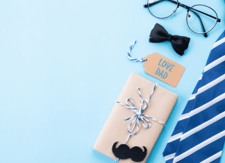 tie with bow tie, gift, love dad, mustache