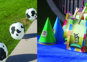 L-Skip helium and attach balloons to the grass with a golf tee, R-Clip printables to goodie bag using a clothespin.