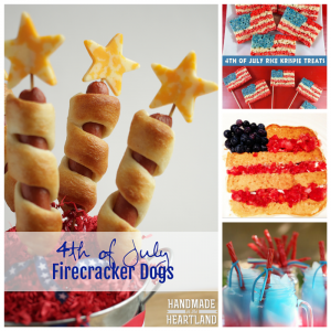 L-R Firecracker Dogs - Handmade in the Heartland, Rice Krispie Treats - Two Sisters Crafting, Patriotic Pancakes - TBMB, Patriotic Punch - Mom Endeavors