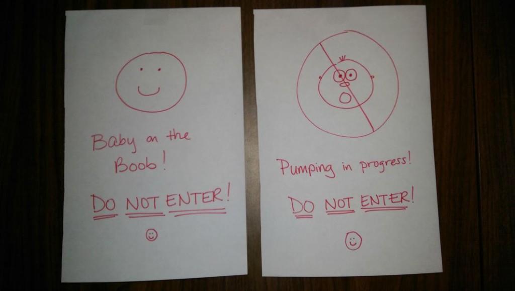 warning signs, baby on boob, pumping in progress, breastfeeding, nursing, pumping at work