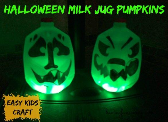 Halloween Milk Jug Pumpkin Craft