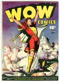 """Front cover, """"Wow Comics"""" no. 38 (art by Jack Binder)"""" by Fawcett Comics."""