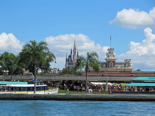 Disney's Magic Kingdom Park from a boat on Seven Seas Lagoon