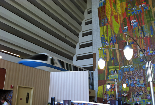 Monorail in the Grand Concourse at Disney's Contemporary Resort