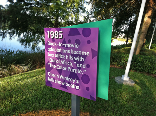 Sign along the jogging trail at Disney's Pop Century Resort