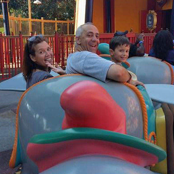 Mom, Dad and one little one can all fly with Dumbo.
