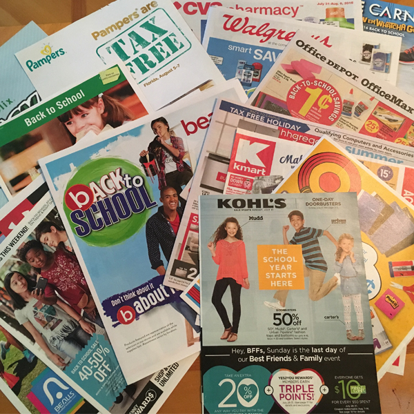Back-to-school sales flyers
