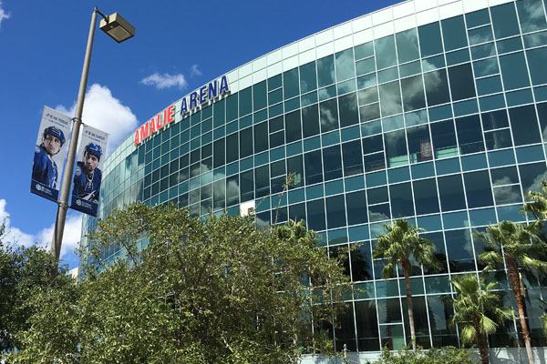 Amalie Arena is across the street from the Riverwalk