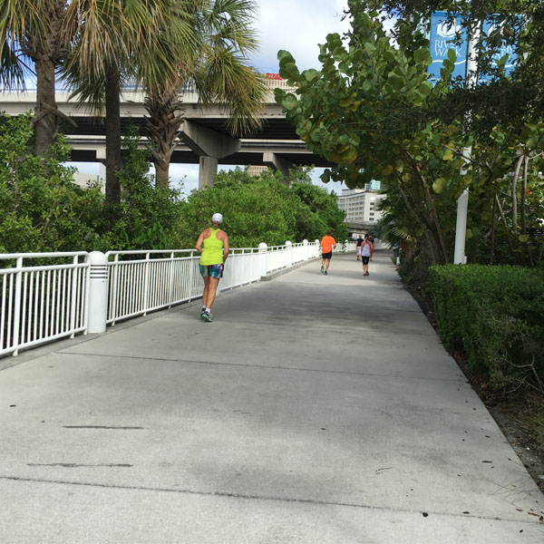 Stretch of sidewalk on the Tampa Riverwalk