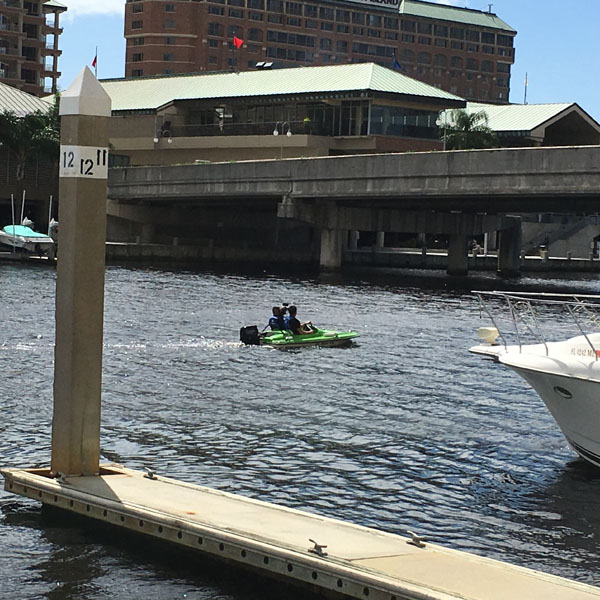 Floating on the river in downtown Tampa