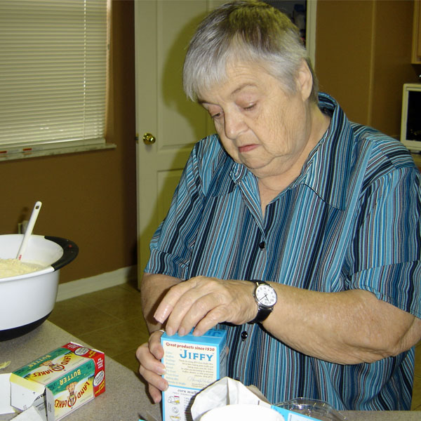 Mom making her corn casserole