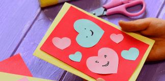 valentine's day craft card by kid