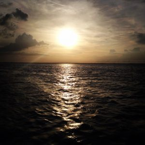 Image of Sunset over water