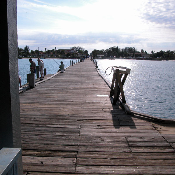 Fishing from a pier on Anna Maria Island, Florida