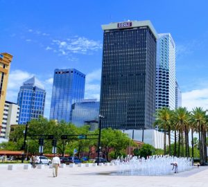 Tampa Office buildings and water fountain