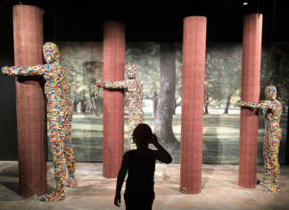 Viewing LEGO sculptures at Art of the Brick Tampa