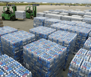 shipments of bottled water for hurricane supply shopping