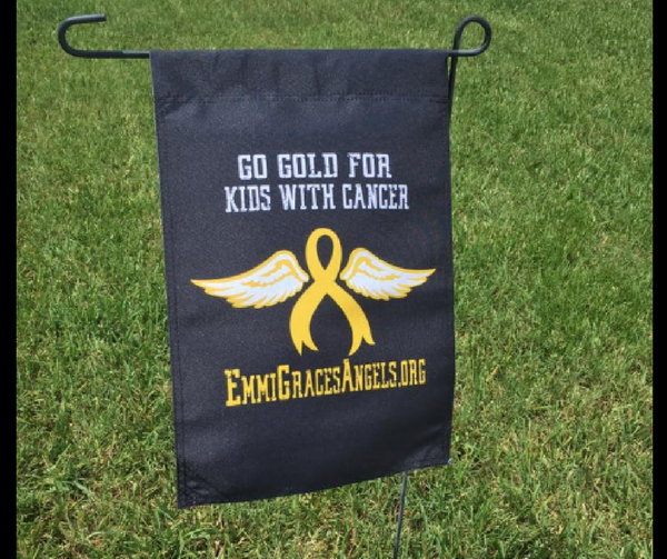 Go Gold for Kids with Cancer Emmi Grace Angels Flag