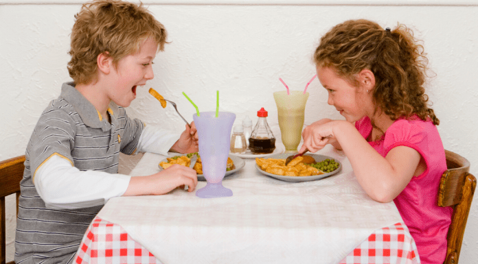 kids eating at table