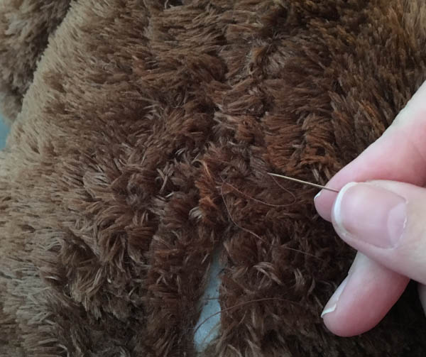 Stitching up a seam