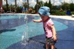 Little Girl Plays at Splash Pad in Lakewood Ranch, Florida