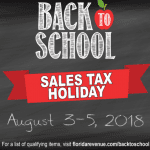 2018 Florida Sales Tax Holiday: August 3-5