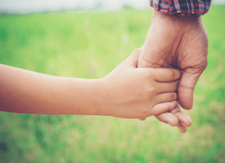 young child holding father's hand