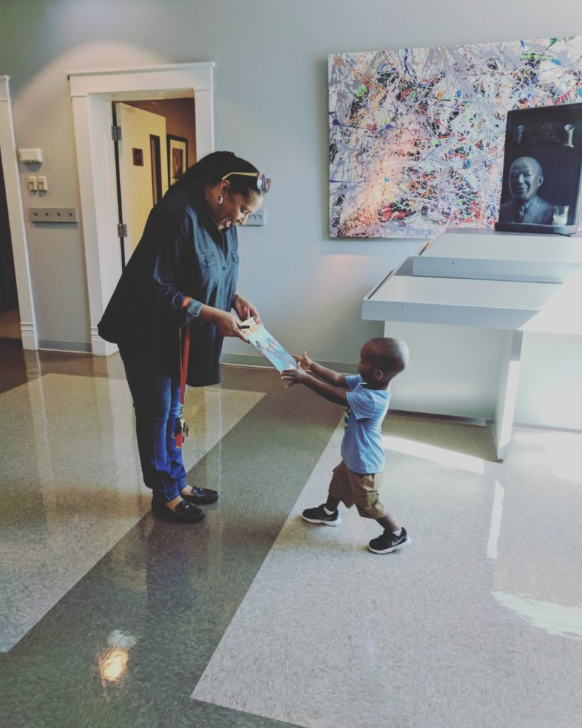 toddler in Black History museum
