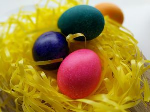 rice and dyed Easter eggs