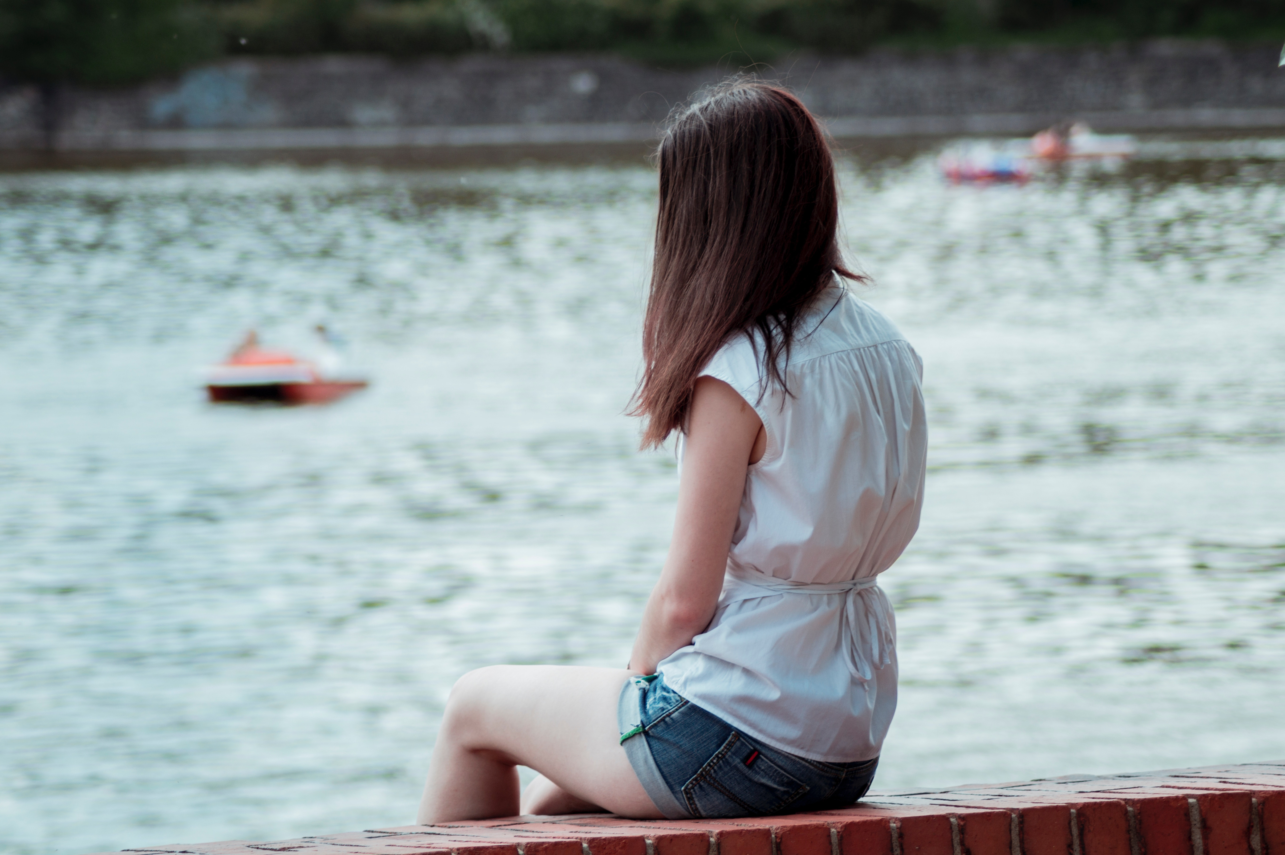 girl at lake