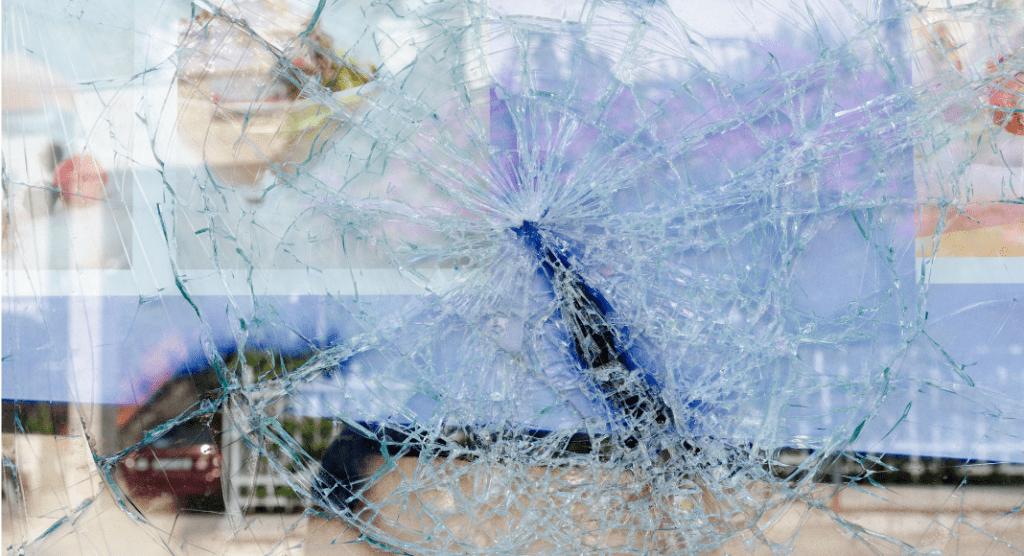 cracked broken glass window