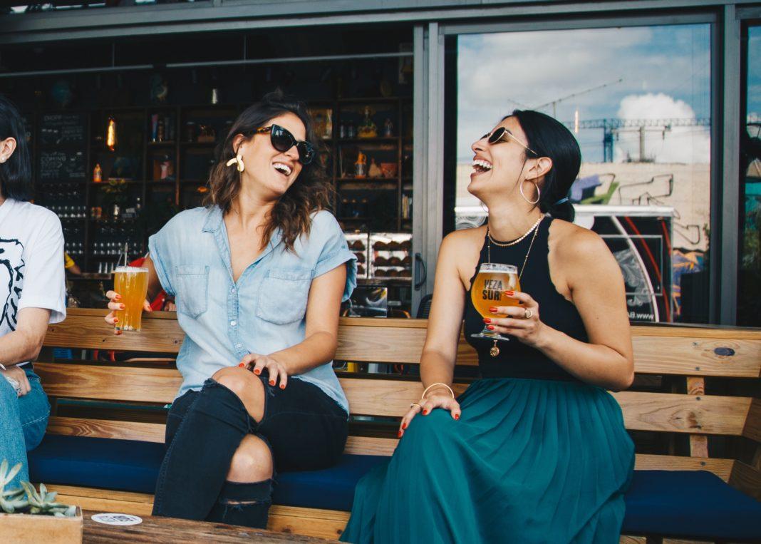 Moms enjoying a drink together