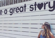 Live a great story mural with woman