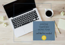 tampa bay mom writing team open call graphic with laptop and coffee