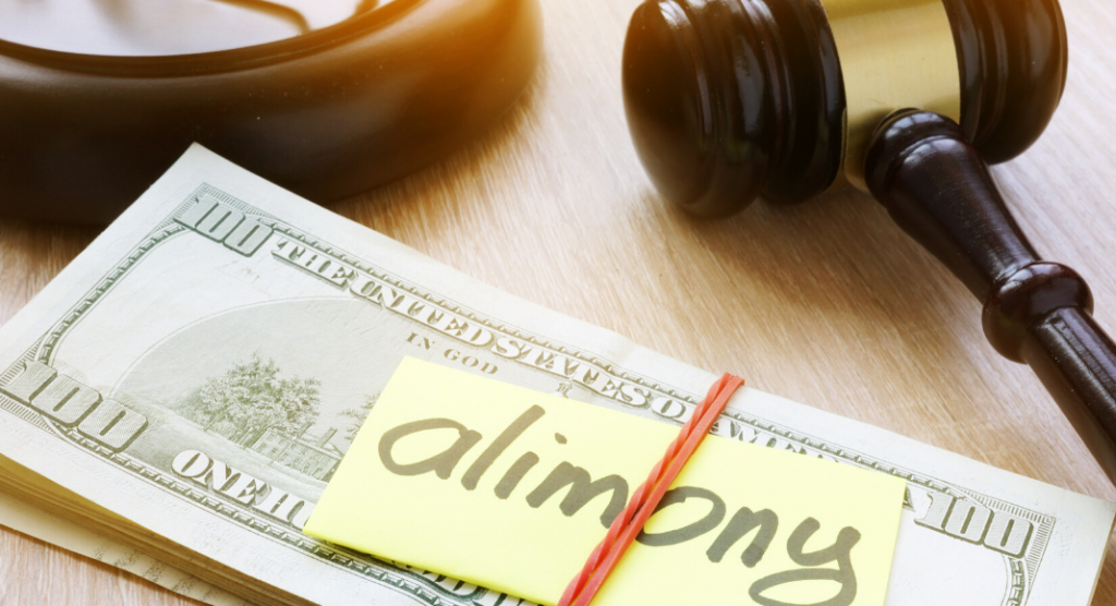 alimony text over stack of money and gavel