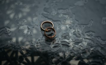 interlaced wedding rings in water