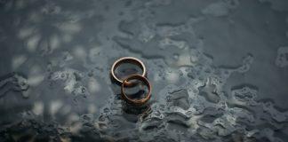 interlaced wedding rings in water