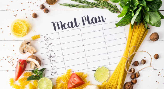 meal plan text on blank weekly calendar surrounded by food