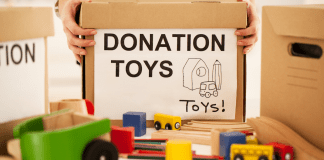 donation box with toys
