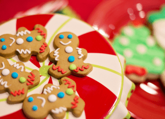 gingerbread cookies on a christmas plate