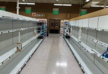 Empty shelves due to coronavirus