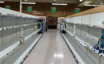 Empty shelves due to coronavirus