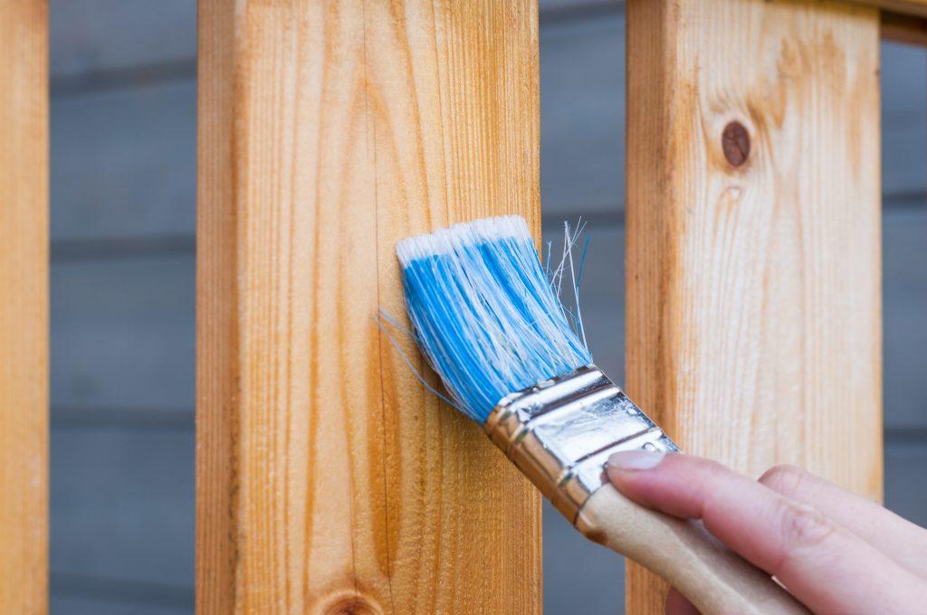 varnishing wood stock photo