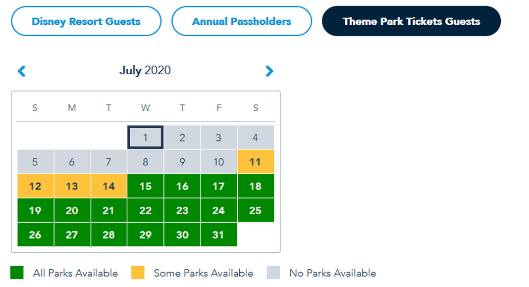 Walt Disney World Park Reservations Calendar