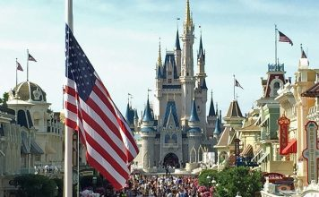 Flag retreat at Walt Disney World's Magic Kingdom