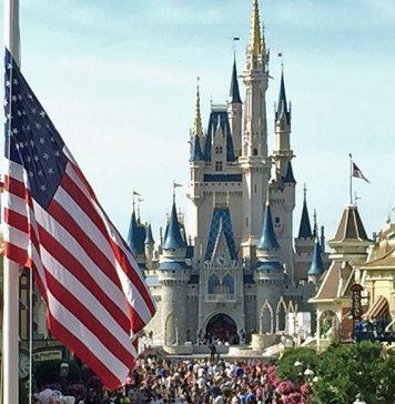 Flag retreat at Walt Disney World's Magic Kingdom